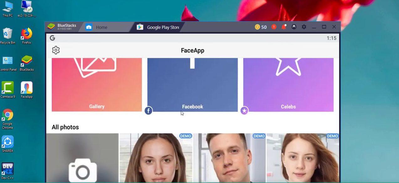 Faceapp for PC Using Bluestacks